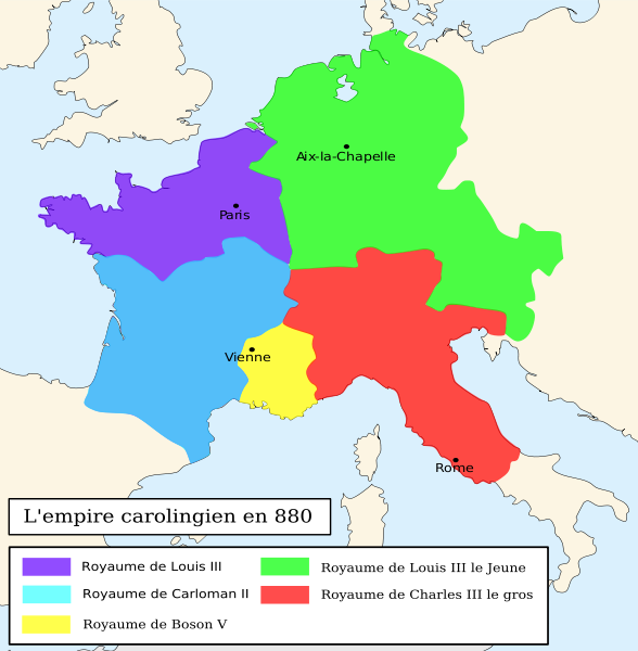 Empire carolingien en 880