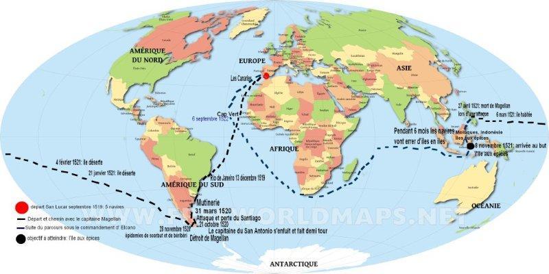 Grande carte du monde simple voyage magellan