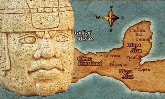 Mesoamerique tete olmeque carte 543po
